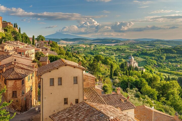 The town of Montepulciano in the Tuscan hills, Italy
