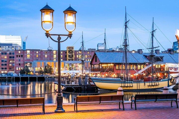The Boston Waterfront Neighborhood, boats, and skyline. USA.