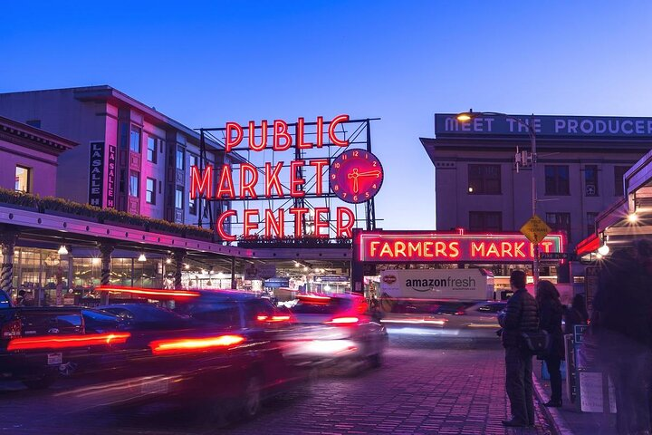 Pike Place Market at twilight
