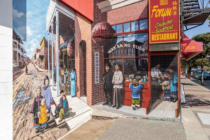 A historic street art mural in Chinatown, Vancouver