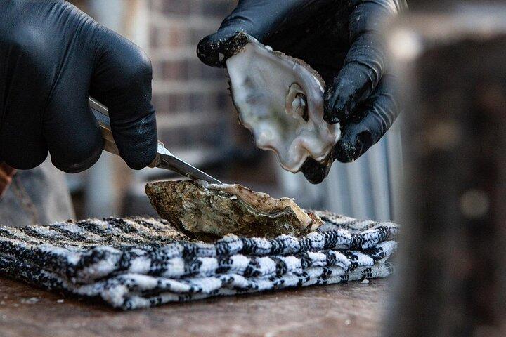 A chef shucking fresh oysters