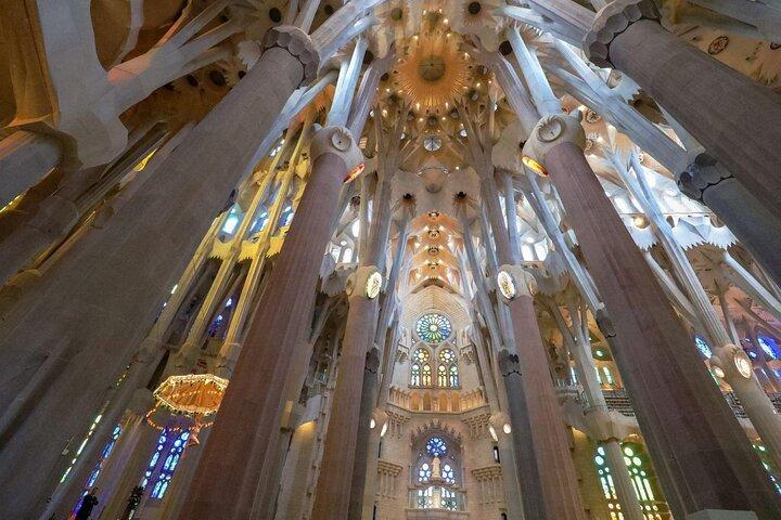 The interior of the Sagrada Familia in Barcelona, Spain