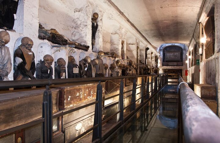 Embalmed mummies line the walls at Capuchin Crypt.