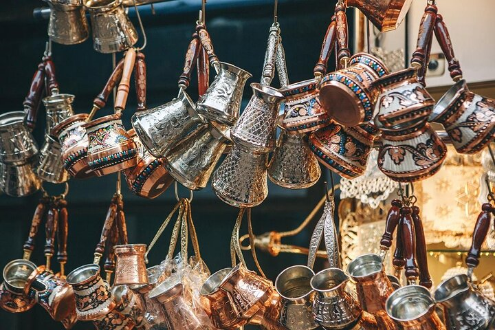 Turkish coffee pots, known as ibriks or cezves, at an Istanbul market stall