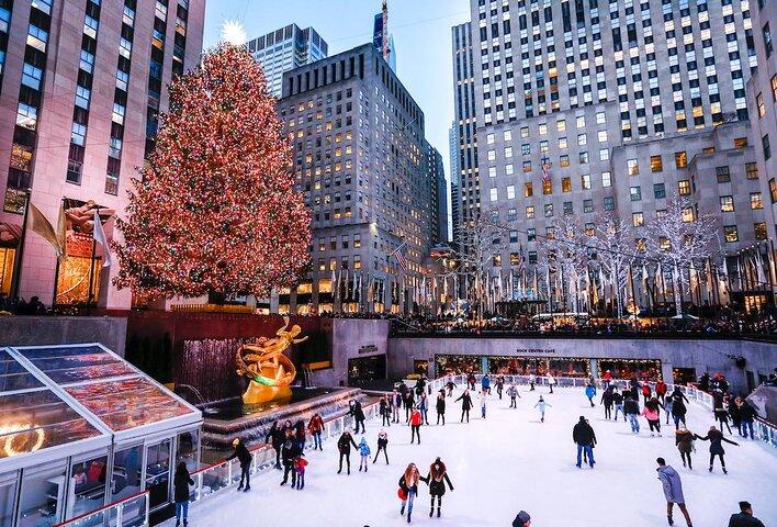 Skaters on the Rockefeller Center ice rink in New York City